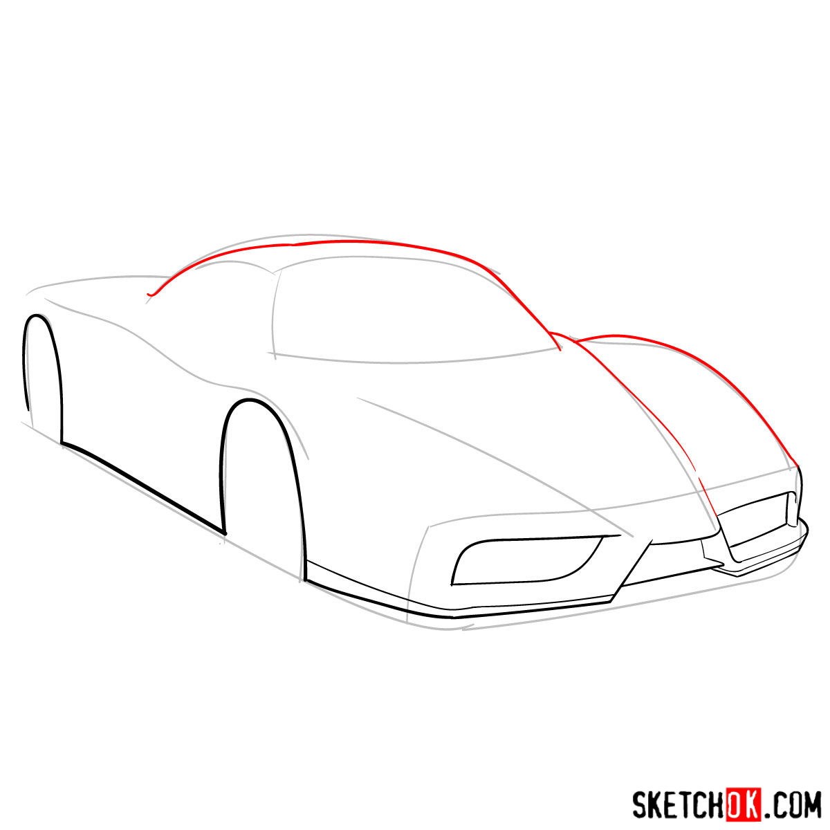 How to draw Ferrari Enzo legendary supercar - step 04