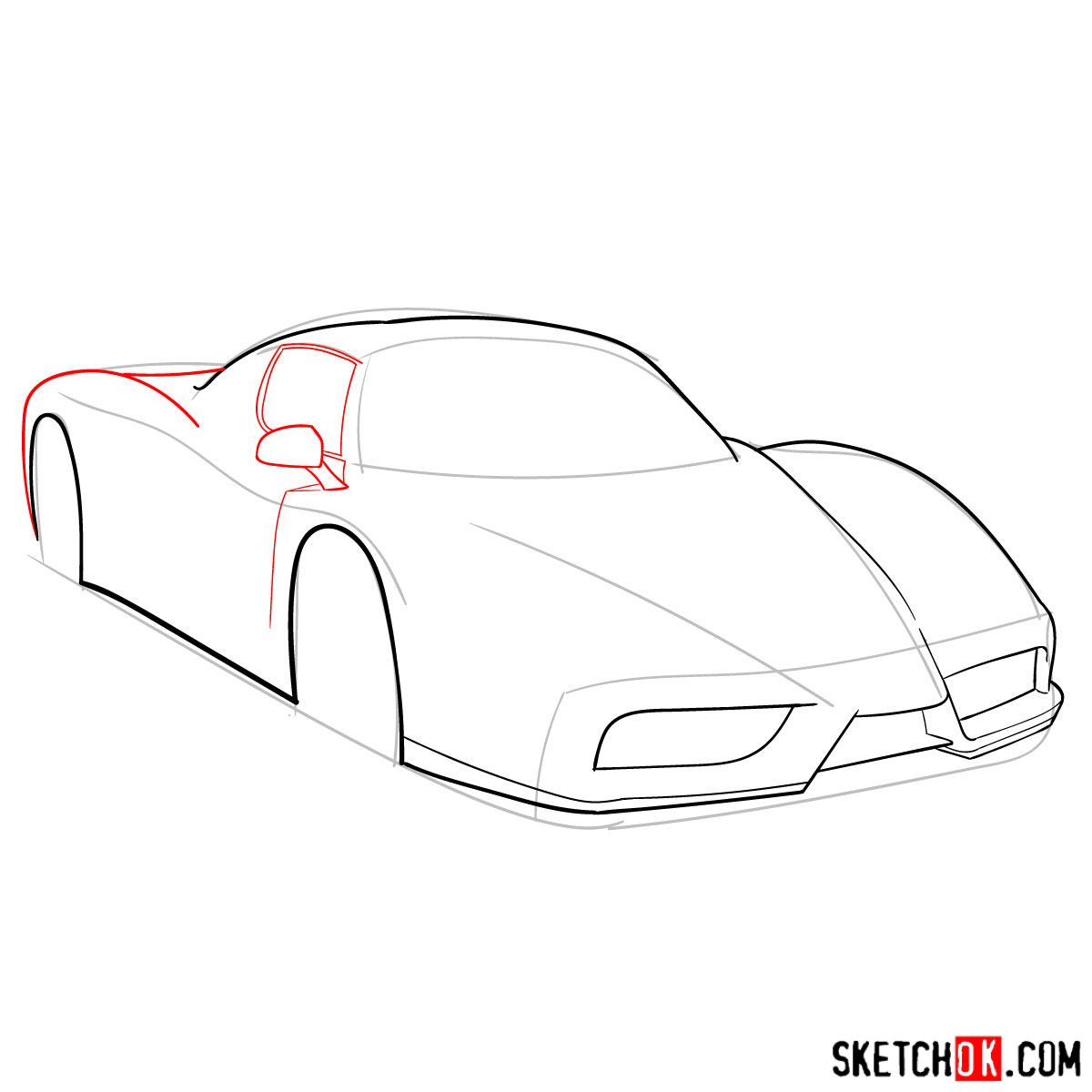 How to draw Ferrari Enzo legendary supercar - step 05