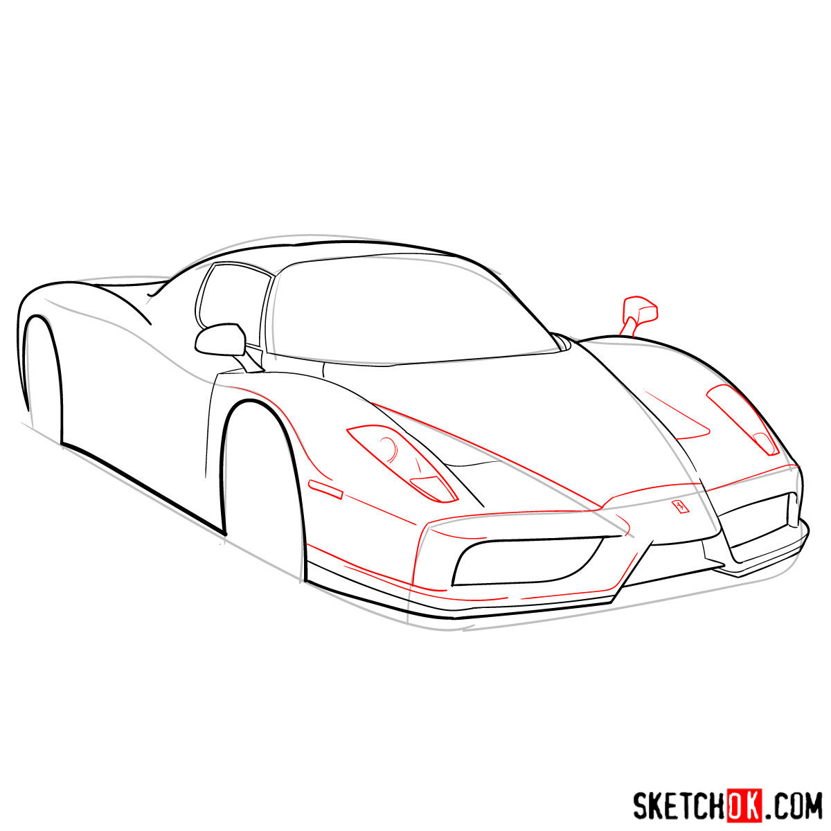 How to draw Ferrari Enzo legendary supercar - step 07