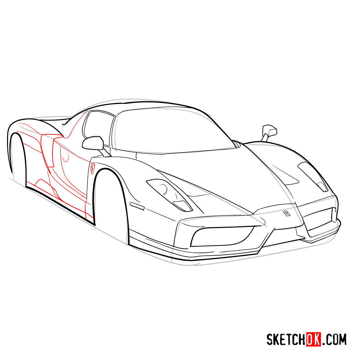 How to draw Ferrari Enzo legendary supercar - step 08