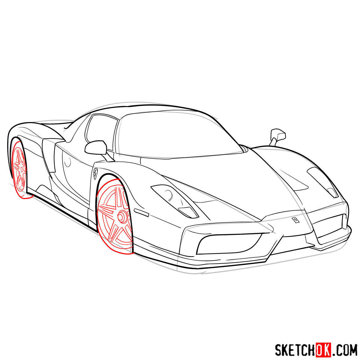 How to draw Ferrari Enzo legendary supercar - step 09