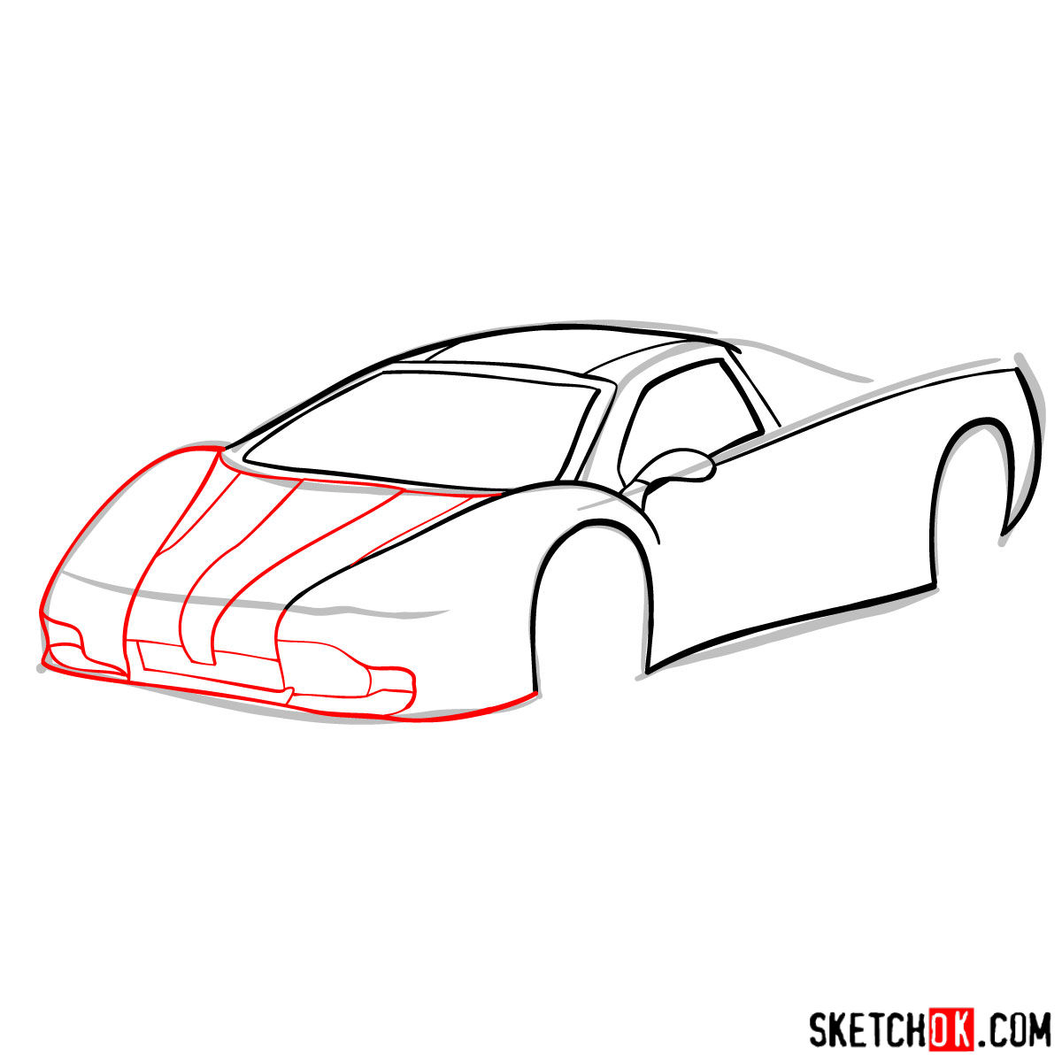 How to draw SSC Ultimate Aero TT 2006 - step 05