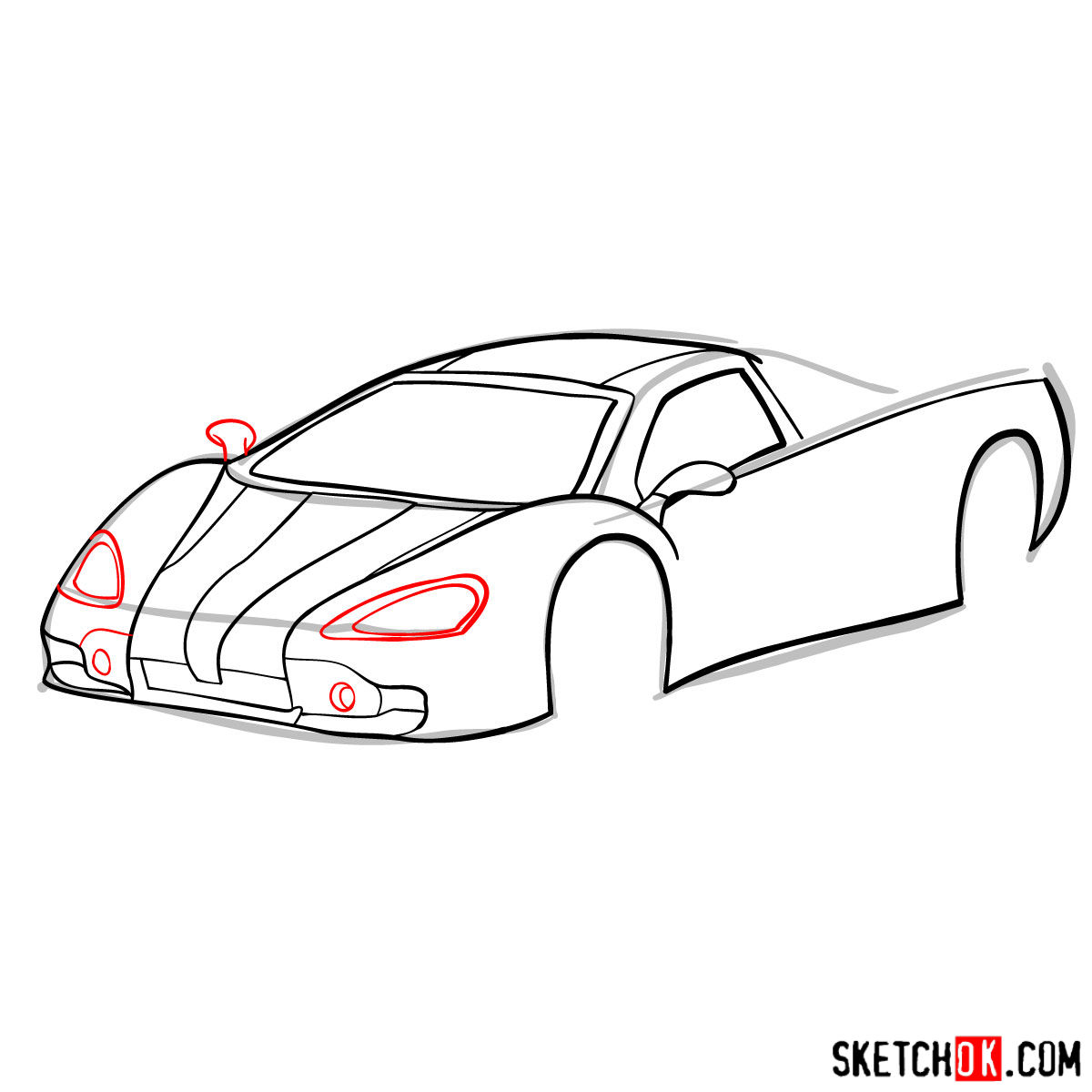 How to draw SSC Ultimate Aero TT 2006 -  step 06