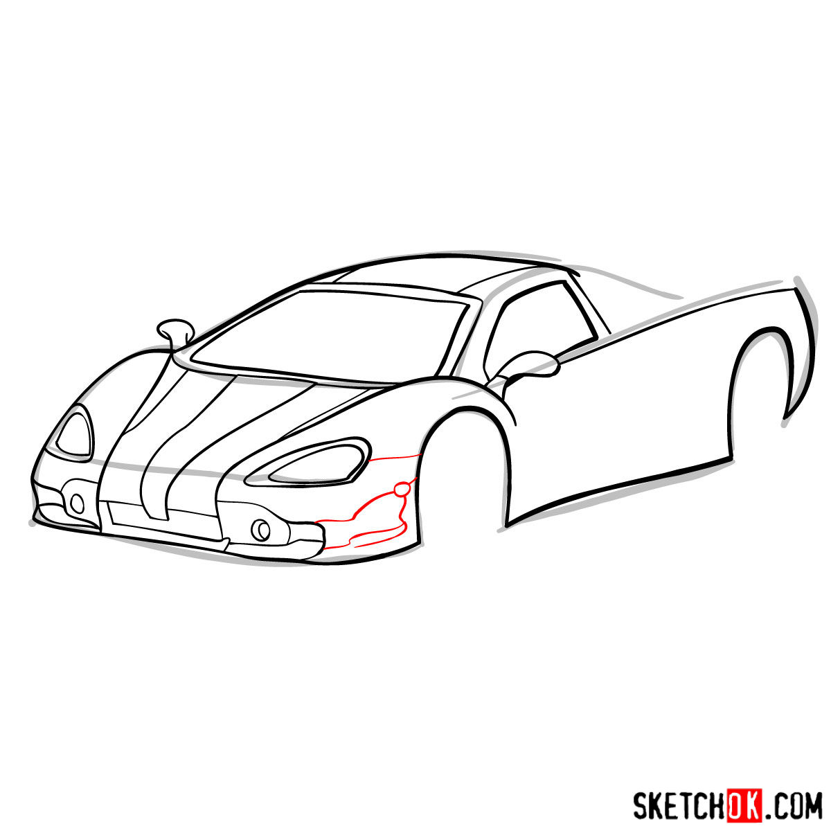 How to draw SSC Ultimate Aero TT 2006 - step 07
