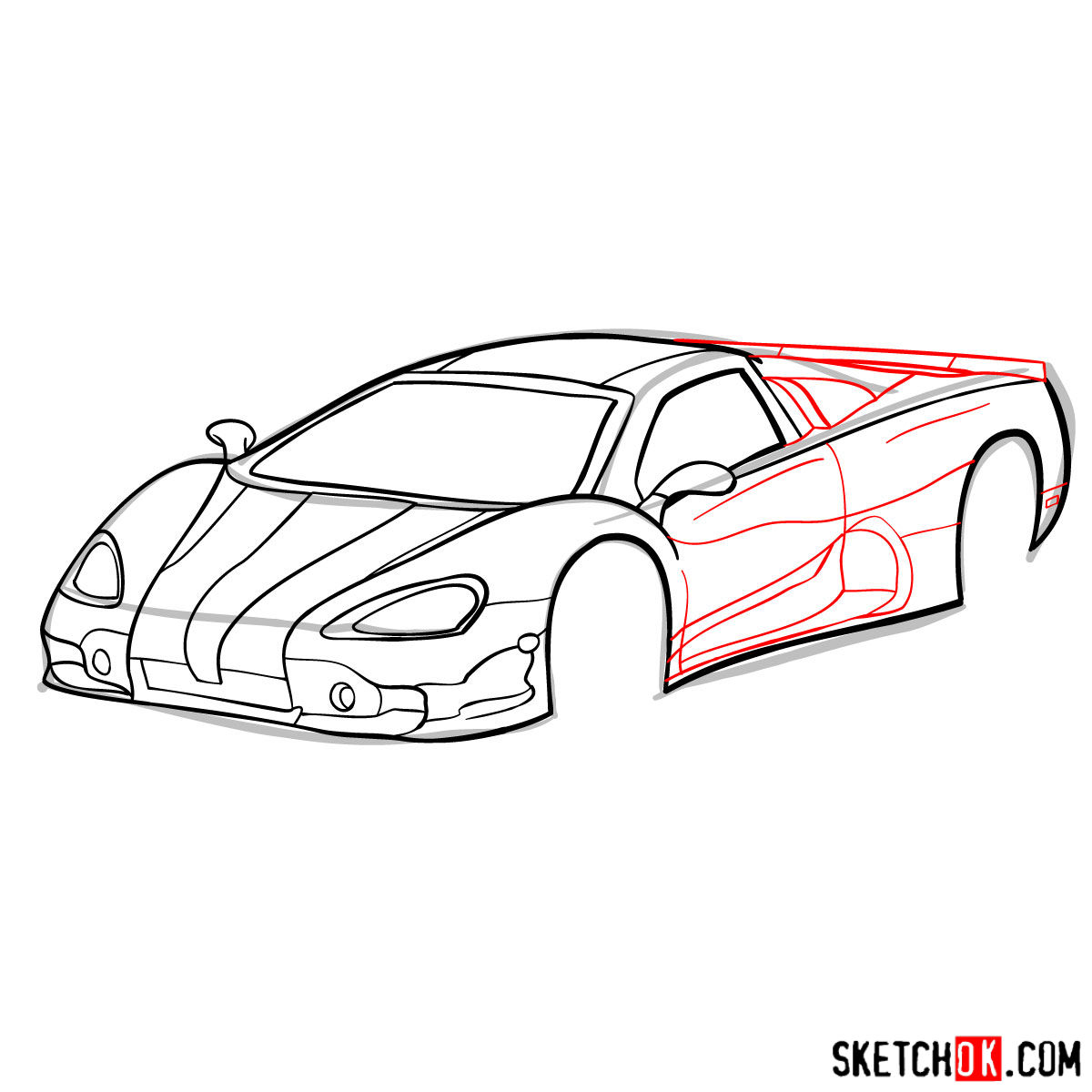 How to draw SSC Ultimate Aero TT 2006 - step 08