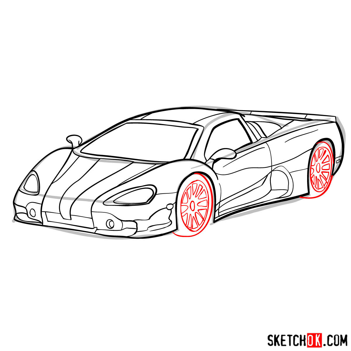 How to draw SSC Ultimate Aero TT 2006 - step 09