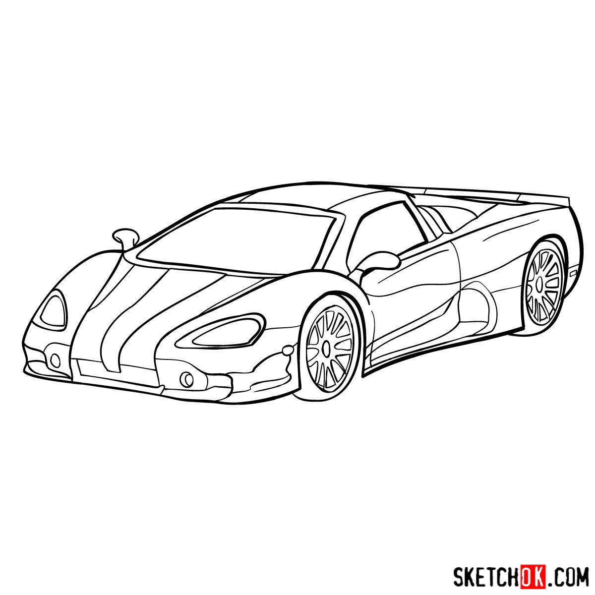 How to draw SSC Ultimate Aero TT 2006 - step 10