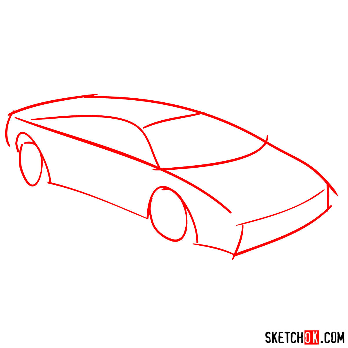 How to draw Lamborghini Diablo - step 01
