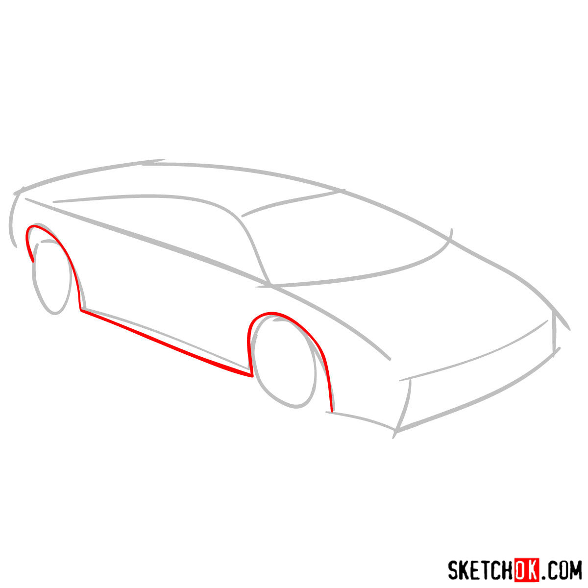 How to draw Lamborghini Diablo - step 02