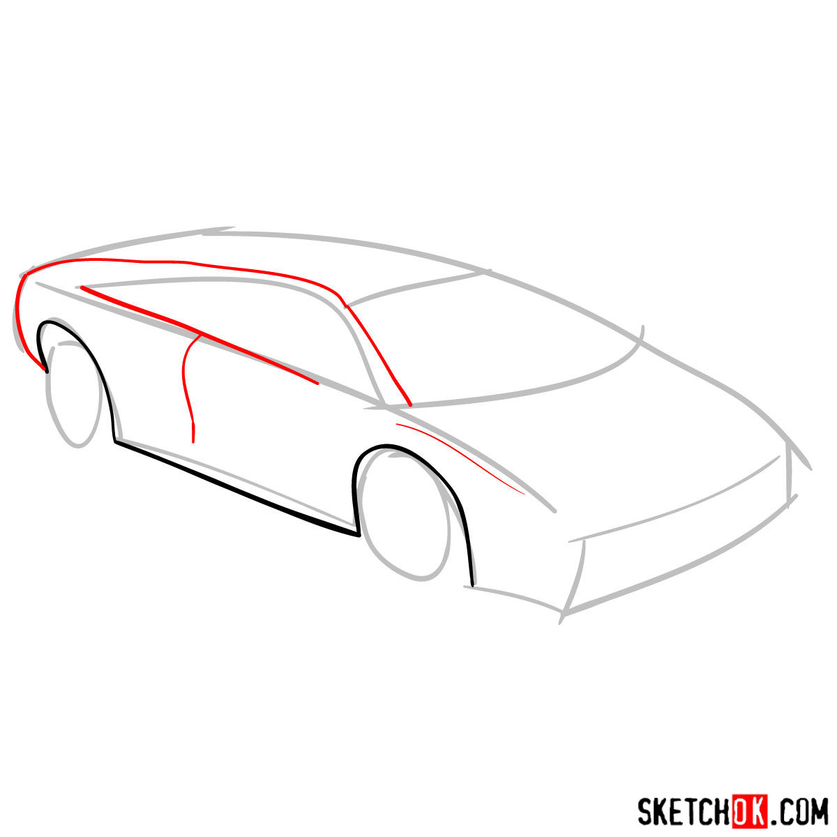 How to draw Lamborghini Diablo - step 03