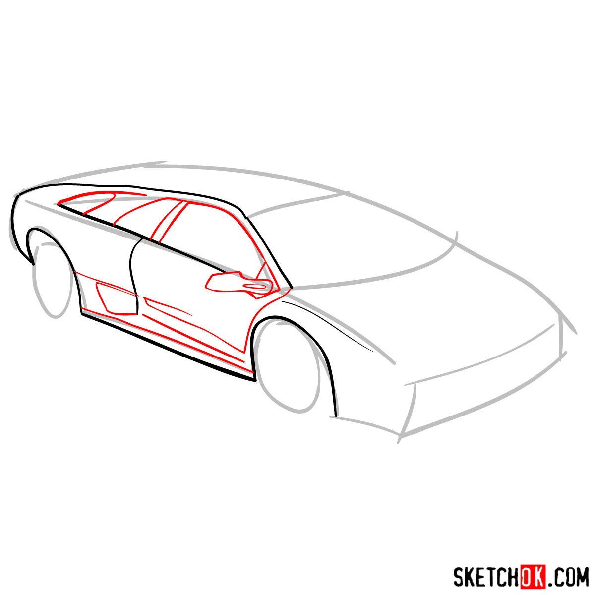 How to draw Lamborghini Diablo - step 04