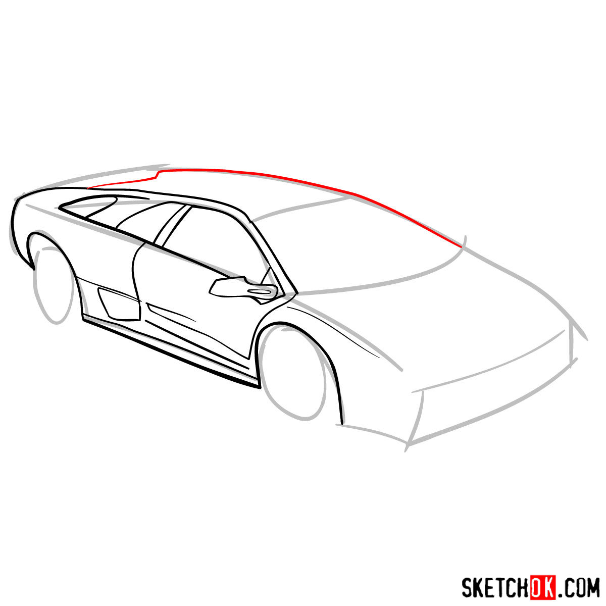How to draw Lamborghini Diablo - step 05