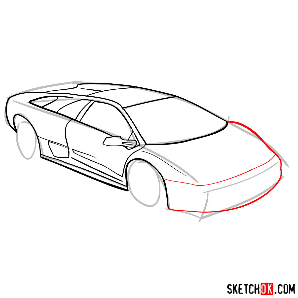 How to draw Lamborghini Diablo - step 07