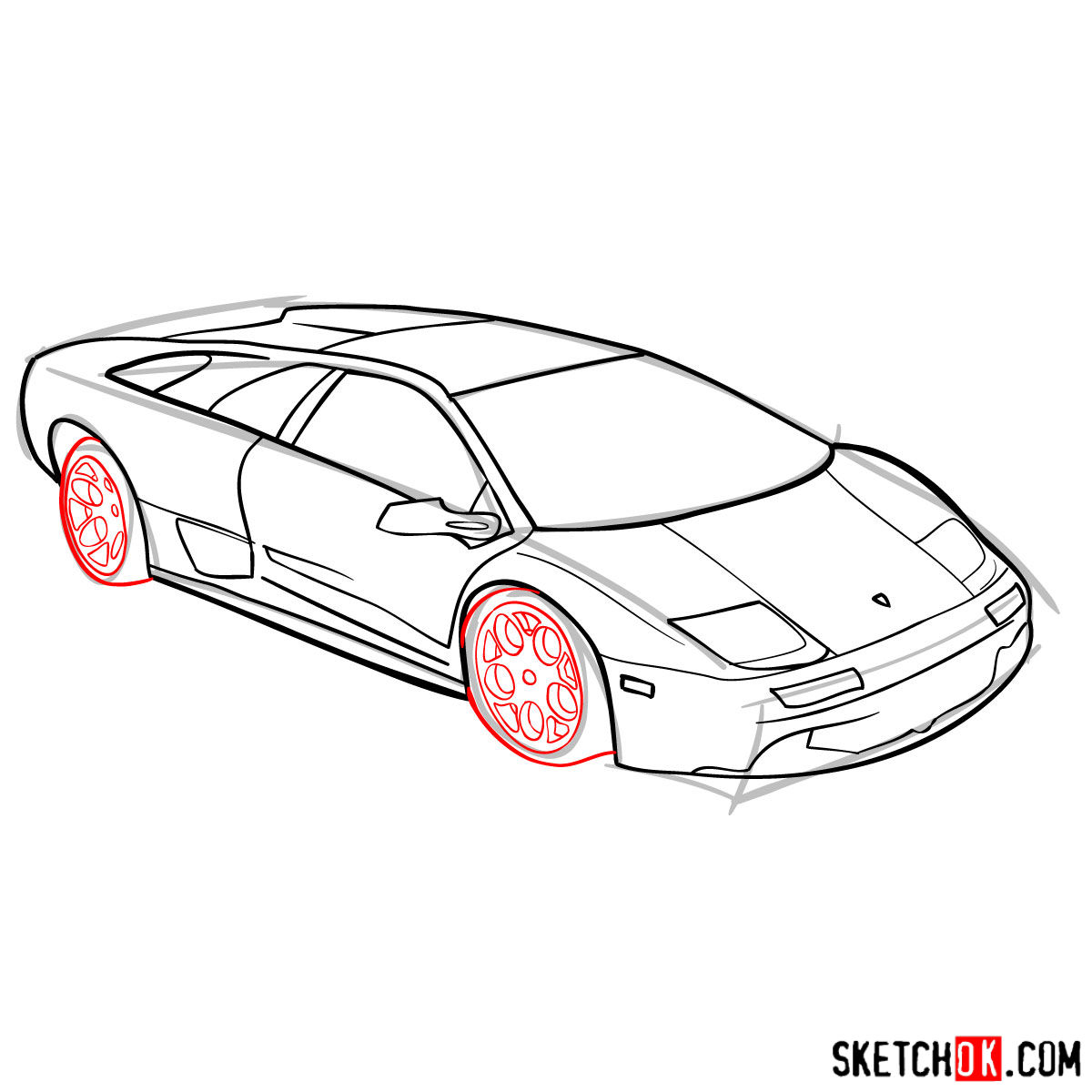 How to draw Lamborghini Diablo - step 09