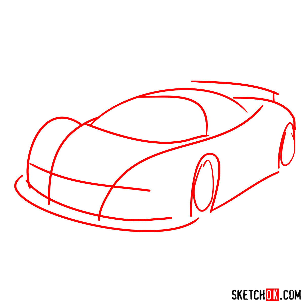 How to draw Gumpert Apolo Sport 2005 - step 01