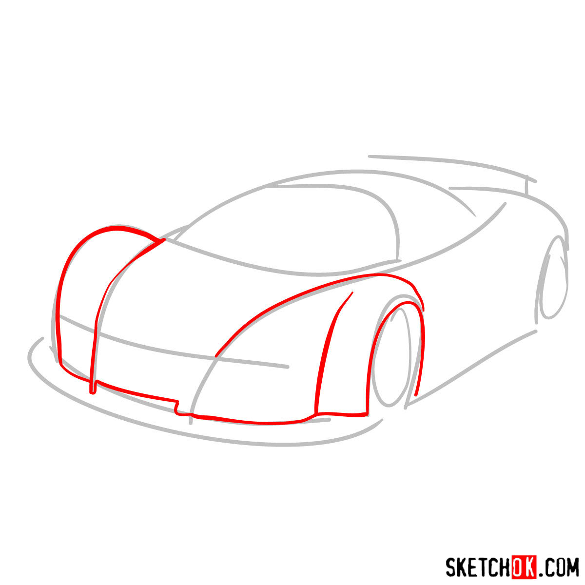 How to draw Gumpert Apolo Sport 2005 - step 02