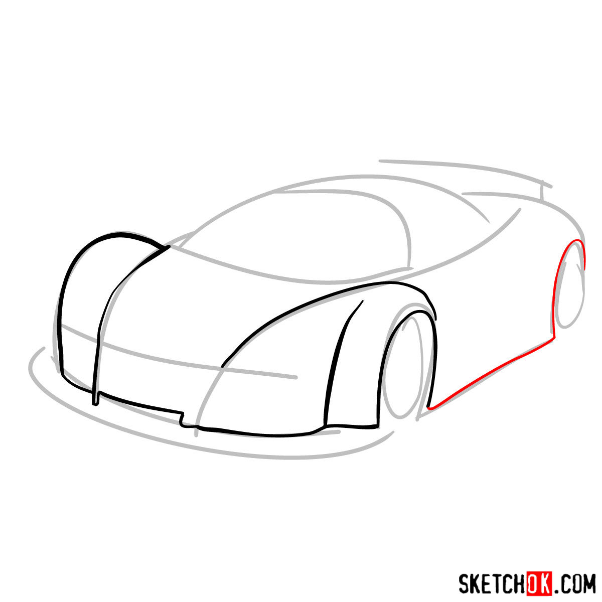 How to draw Gumpert Apolo Sport 2005 - step 03