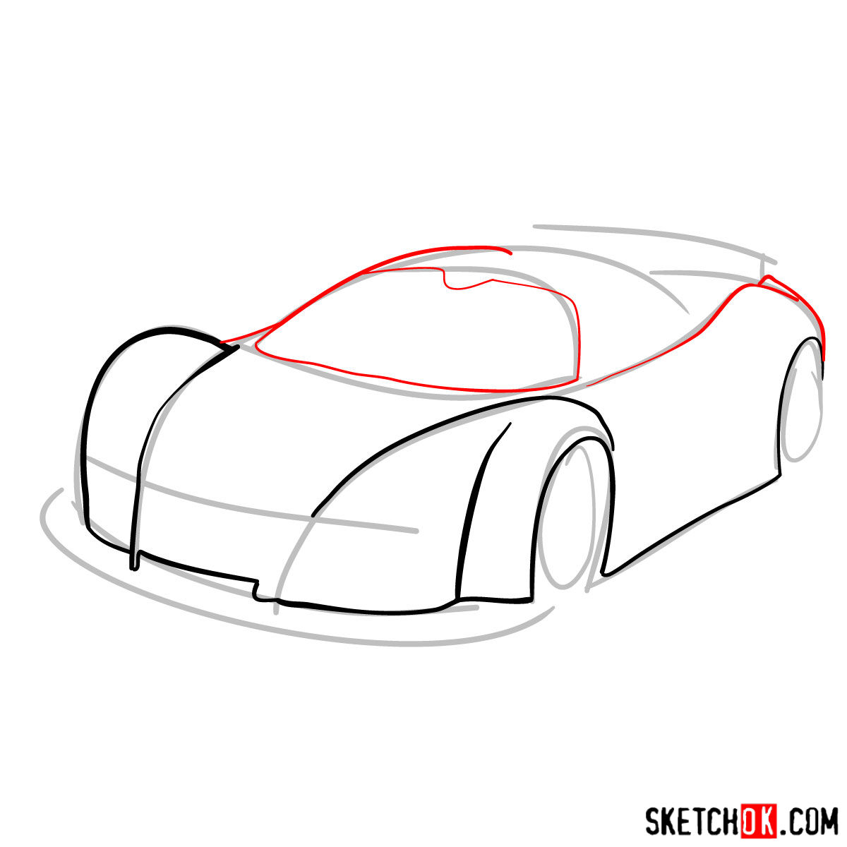 How to draw Gumpert Apolo Sport 2005 - step 04
