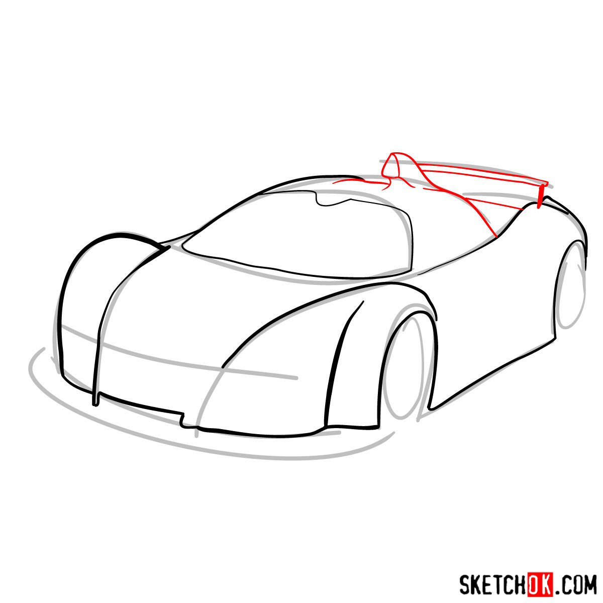 How to draw Gumpert Apolo Sport 2005 - step 05