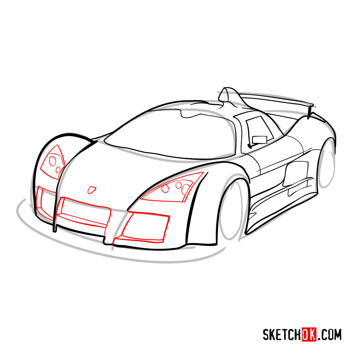 How to draw Gumpert Apolo Sport 2005 - step 08