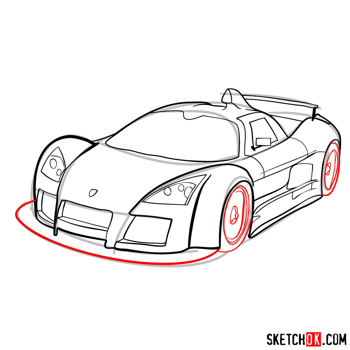 How to draw Gumpert Apolo Sport 2005 - step 09