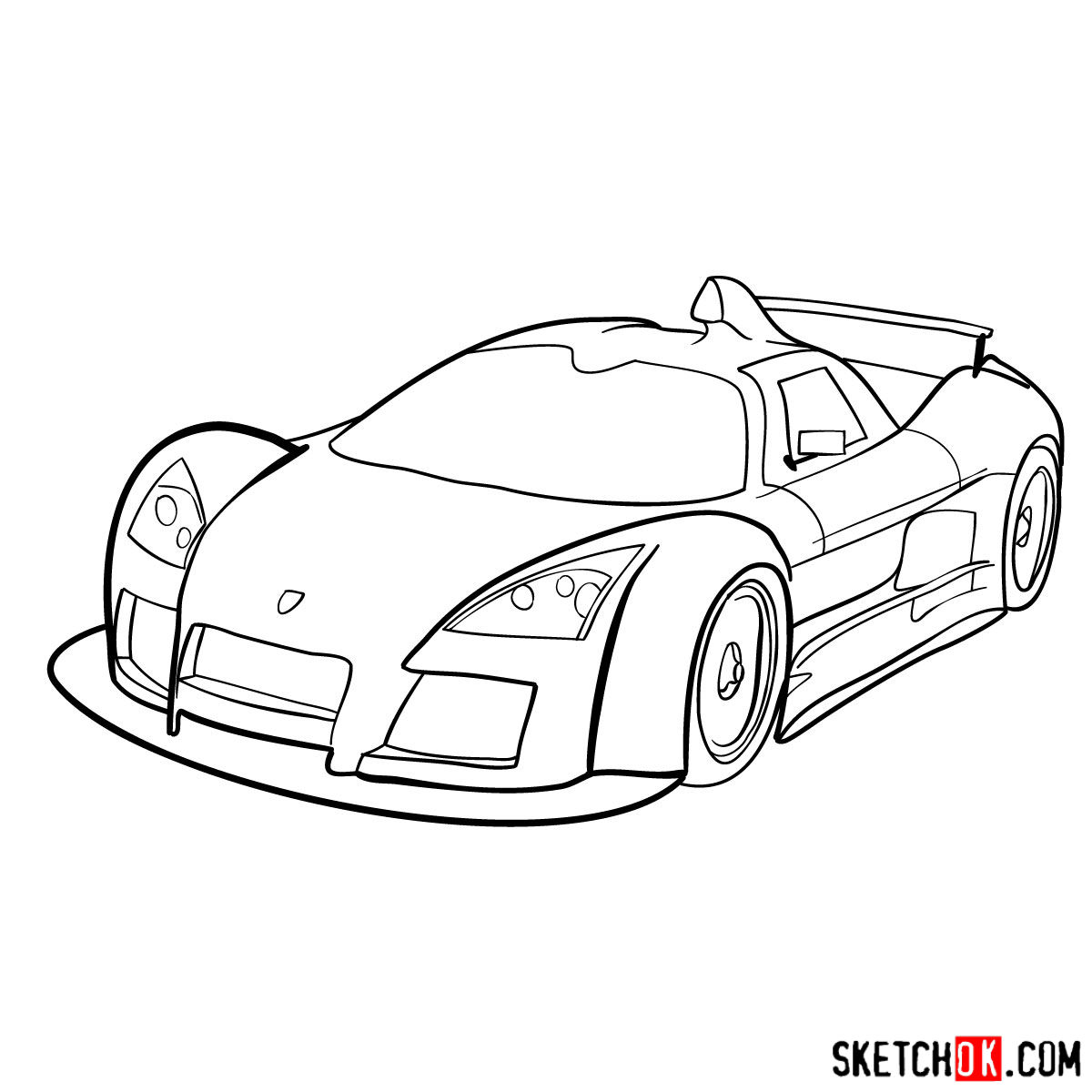 How to draw Gumpert Apolo Sport 2005 - step 10