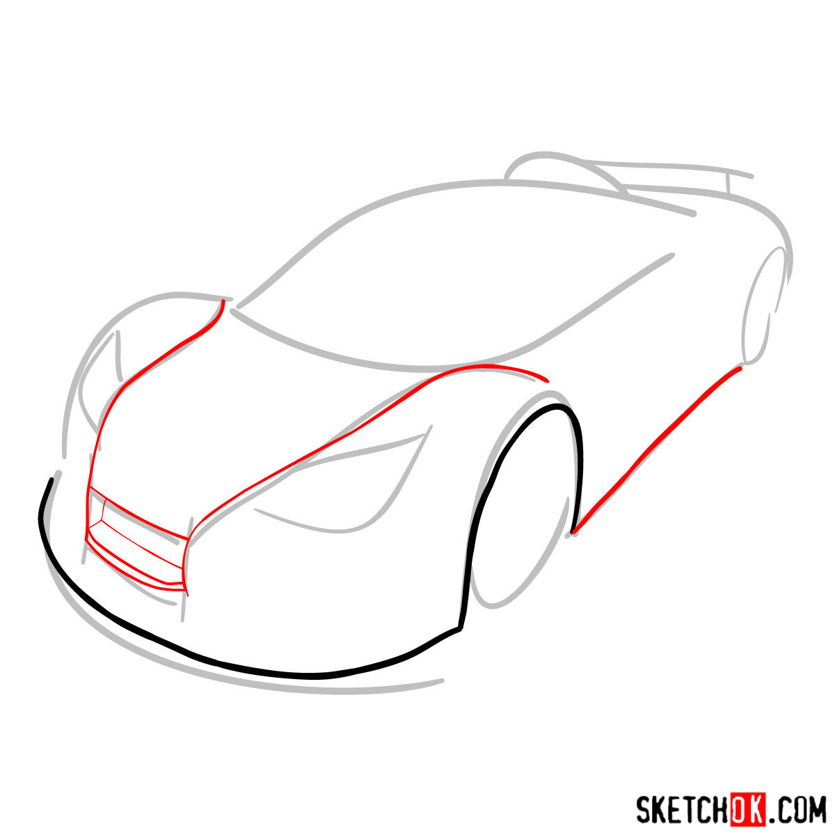 How to draw Gumpert Apolo Sport 2012 - step 03