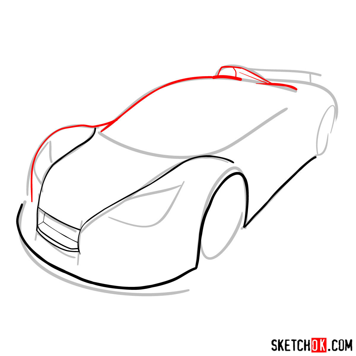 How to draw Gumpert Apolo Sport 2012 - step 04