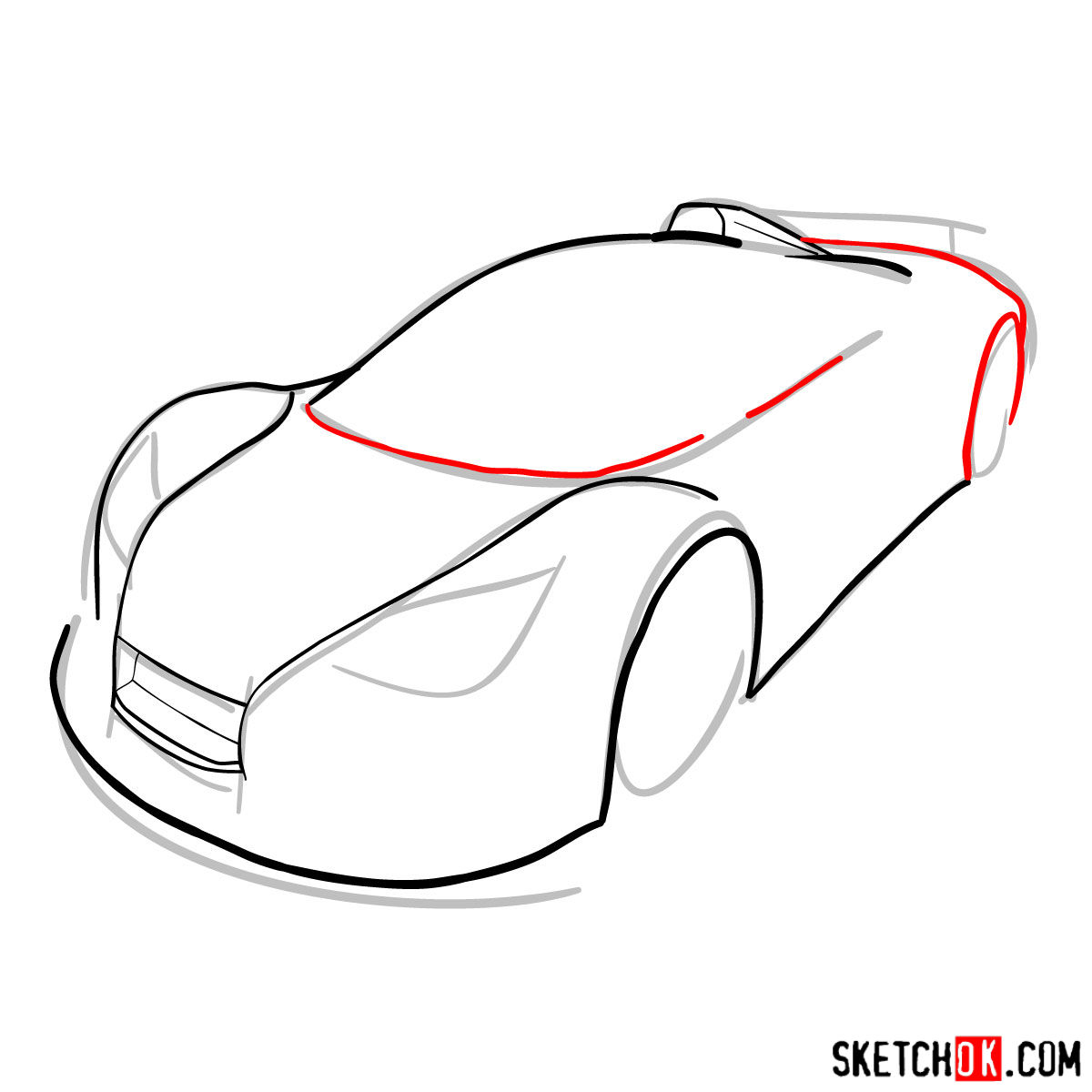 How to draw Gumpert Apolo Sport 2012 - step 05