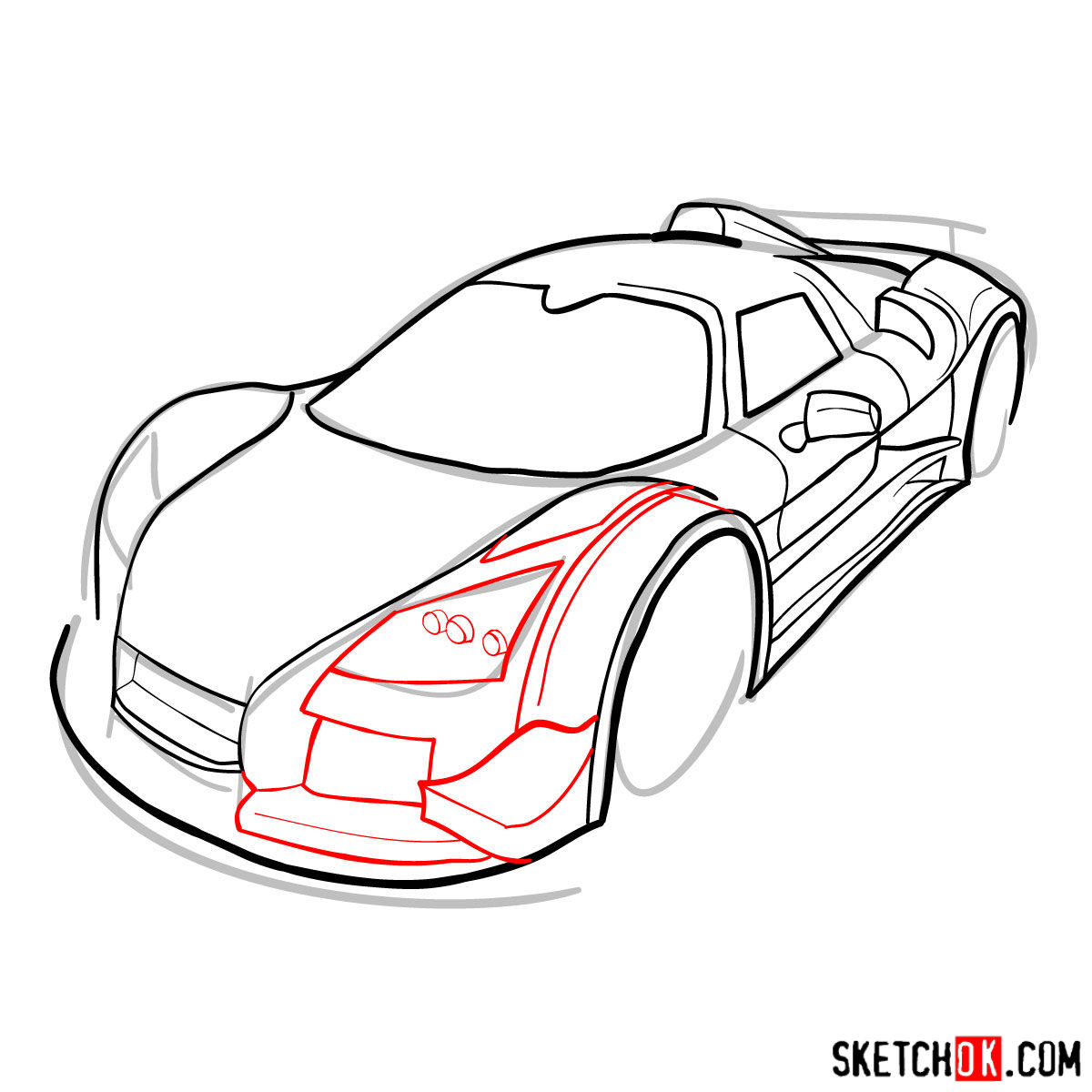 How to draw Gumpert Apolo Sport 2012 - step 09