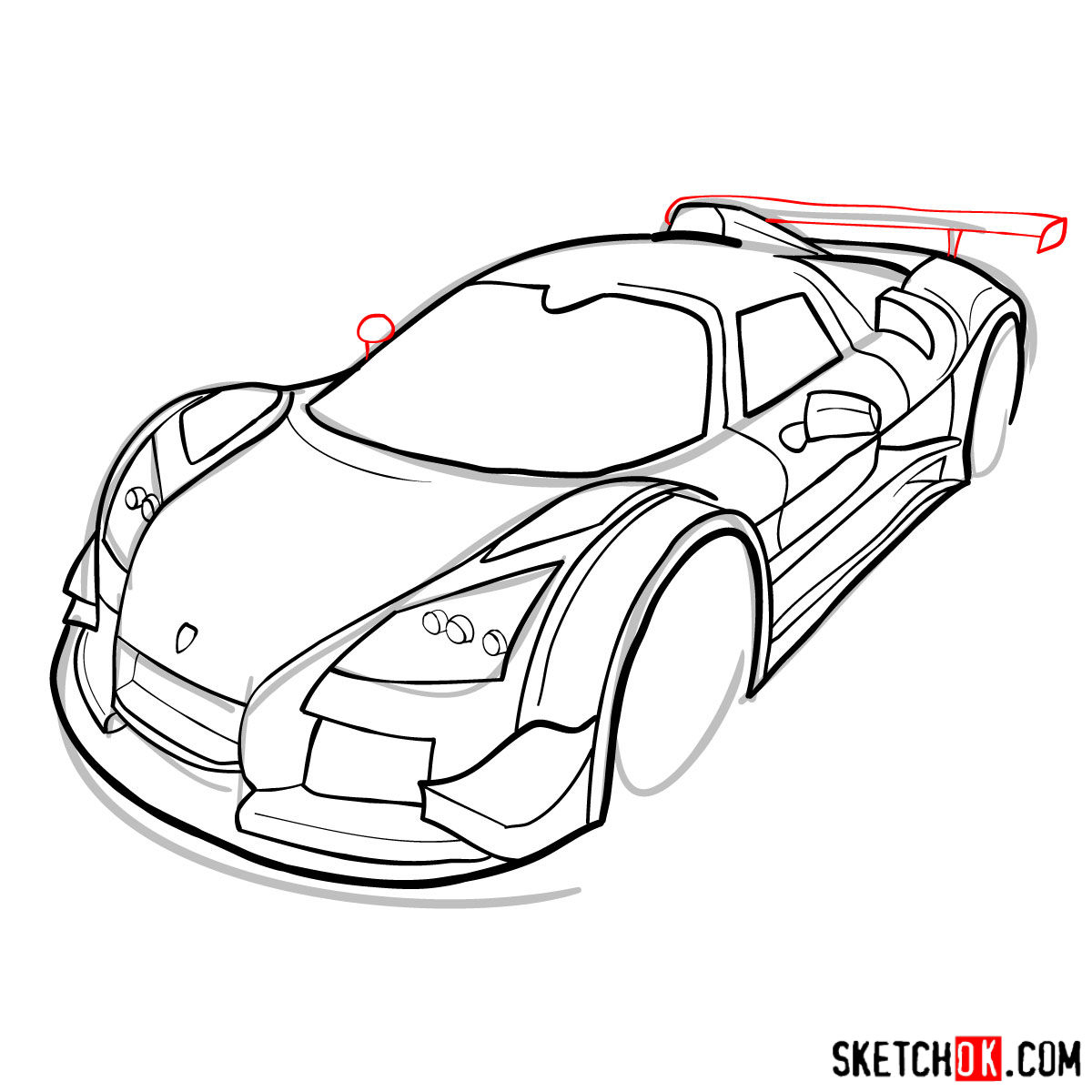 How to draw Gumpert Apolo Sport 2012 - step 11
