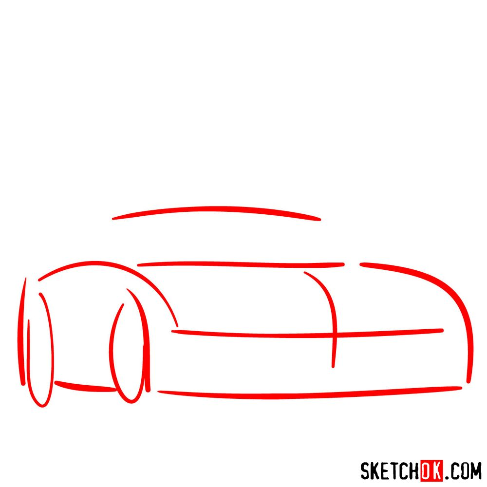 How to draw Mercedes-Benz SLS AMG Black Series - step 01