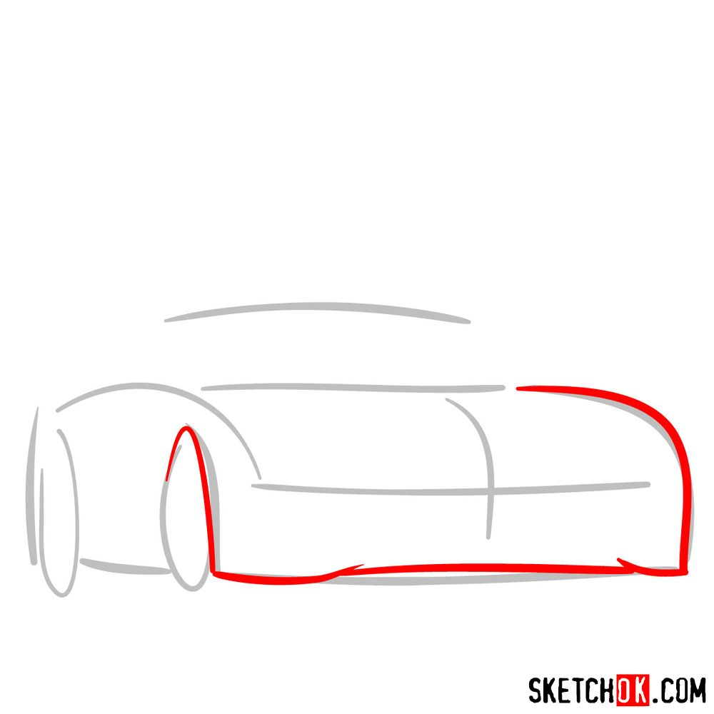 How to draw Mercedes-Benz SLS AMG Black Series - step 02