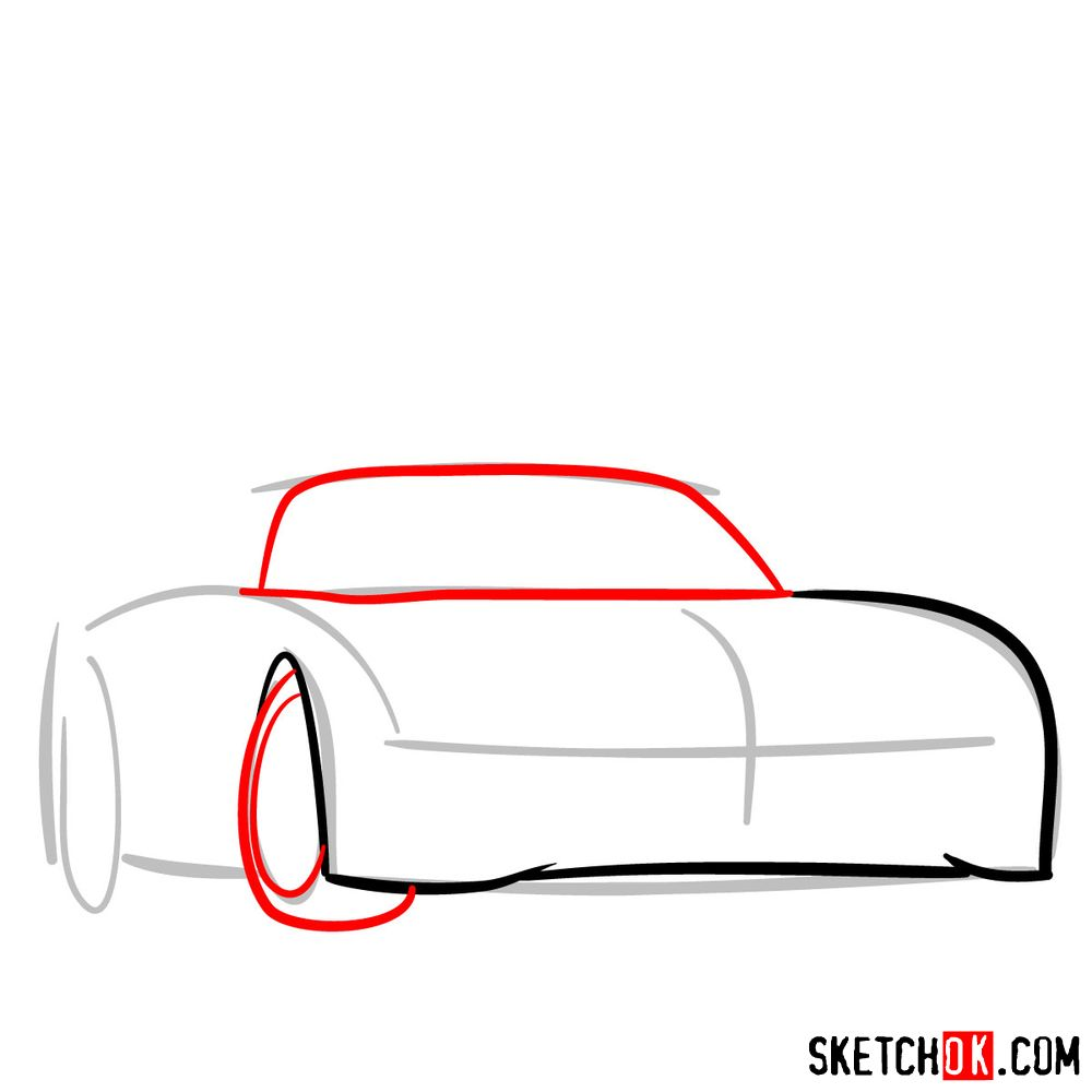 How to draw Mercedes-Benz SLS AMG Black Series - step 03