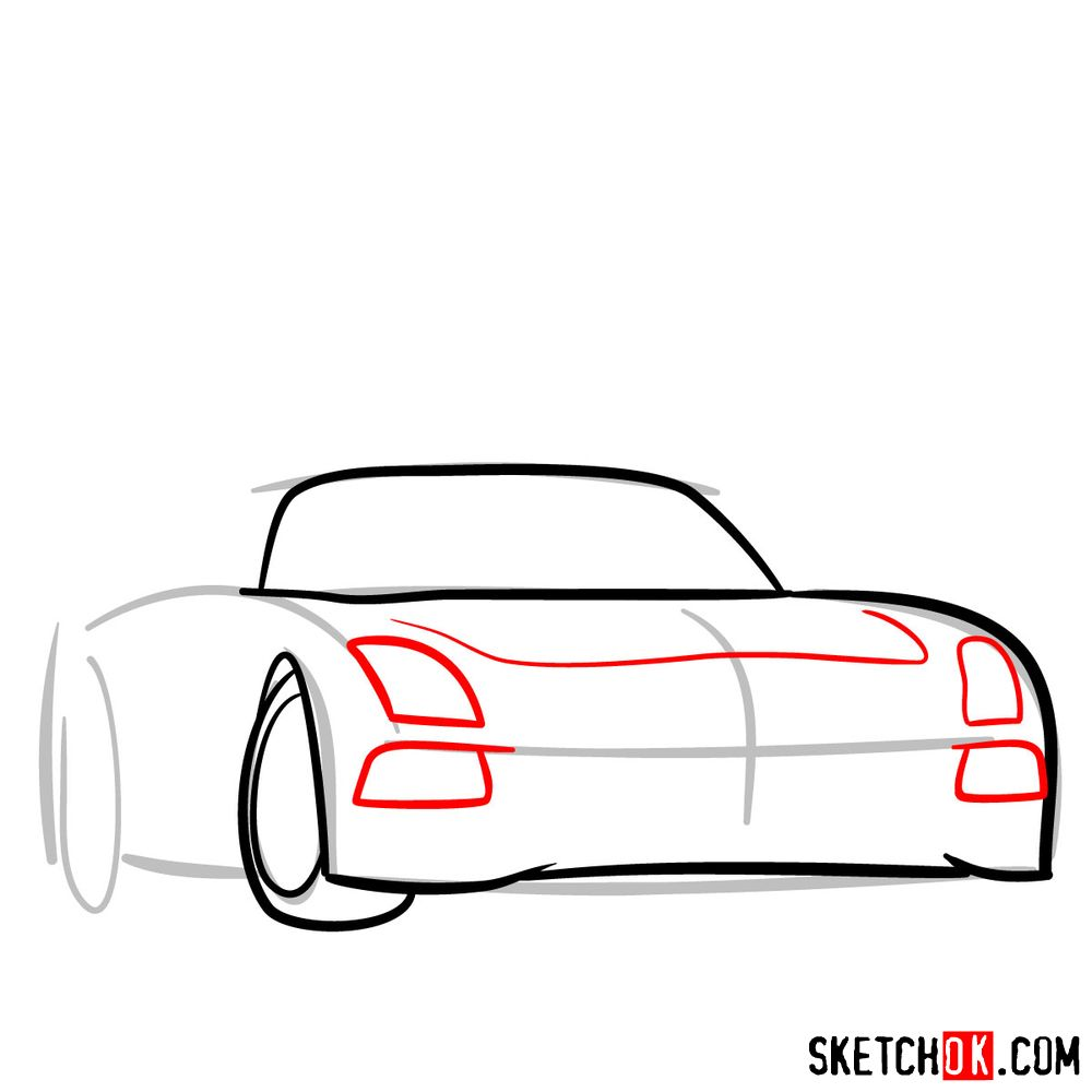 How to draw Mercedes-Benz SLS AMG Black Series - step 04