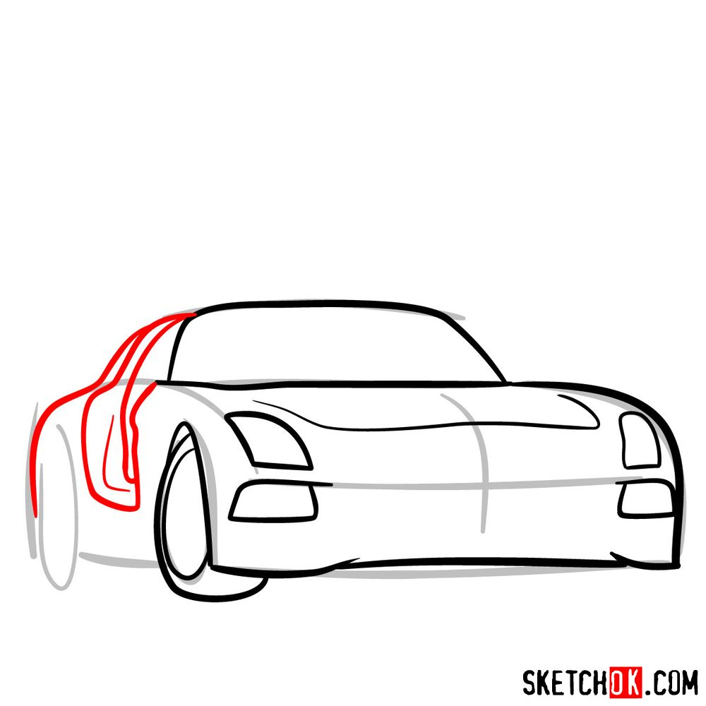 How to draw Mercedes-Benz SLS AMG Black Series - step 05
