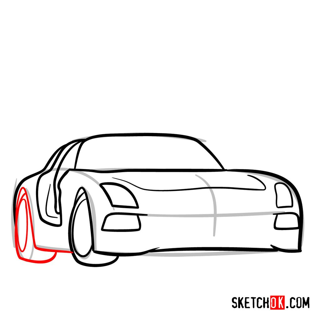 How to draw Mercedes-Benz SLS AMG Black Series - step 06