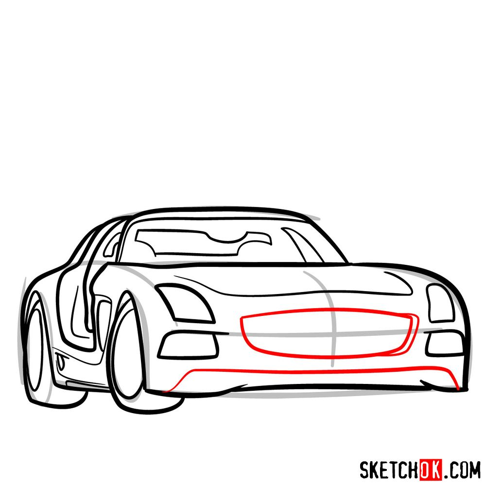 How to draw Mercedes-Benz SLS AMG Black Series - step 09