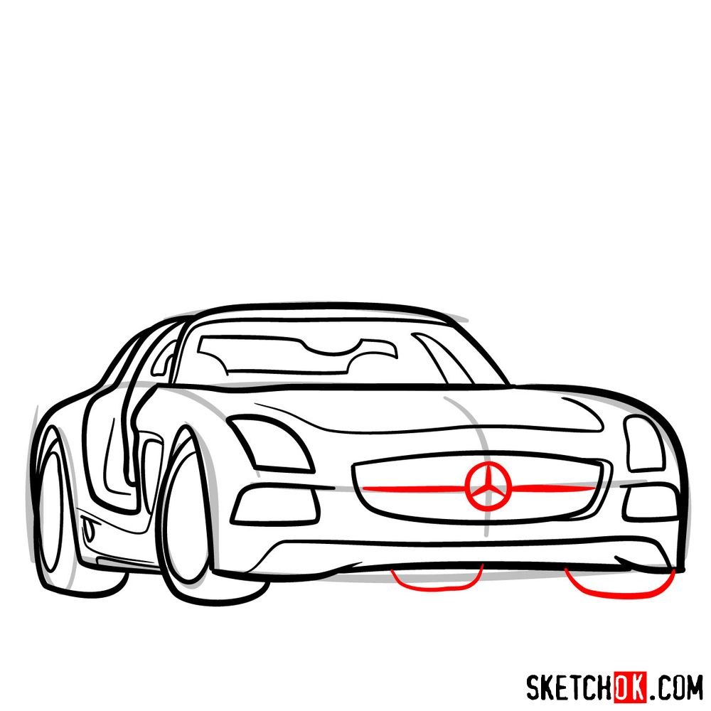 How to draw Mercedes-Benz SLS AMG Black Series - step 10