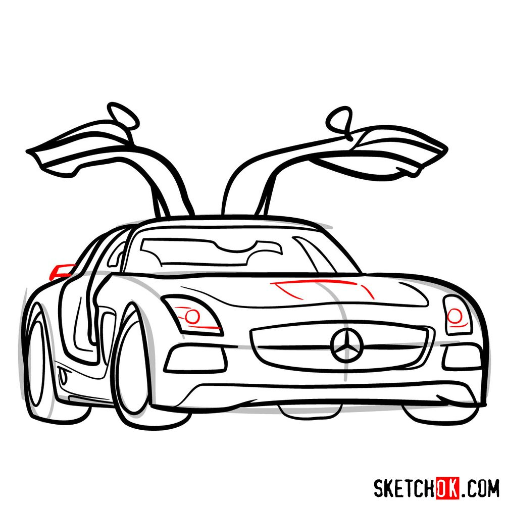 How to draw Mercedes-Benz SLS AMG Black Series - step 13