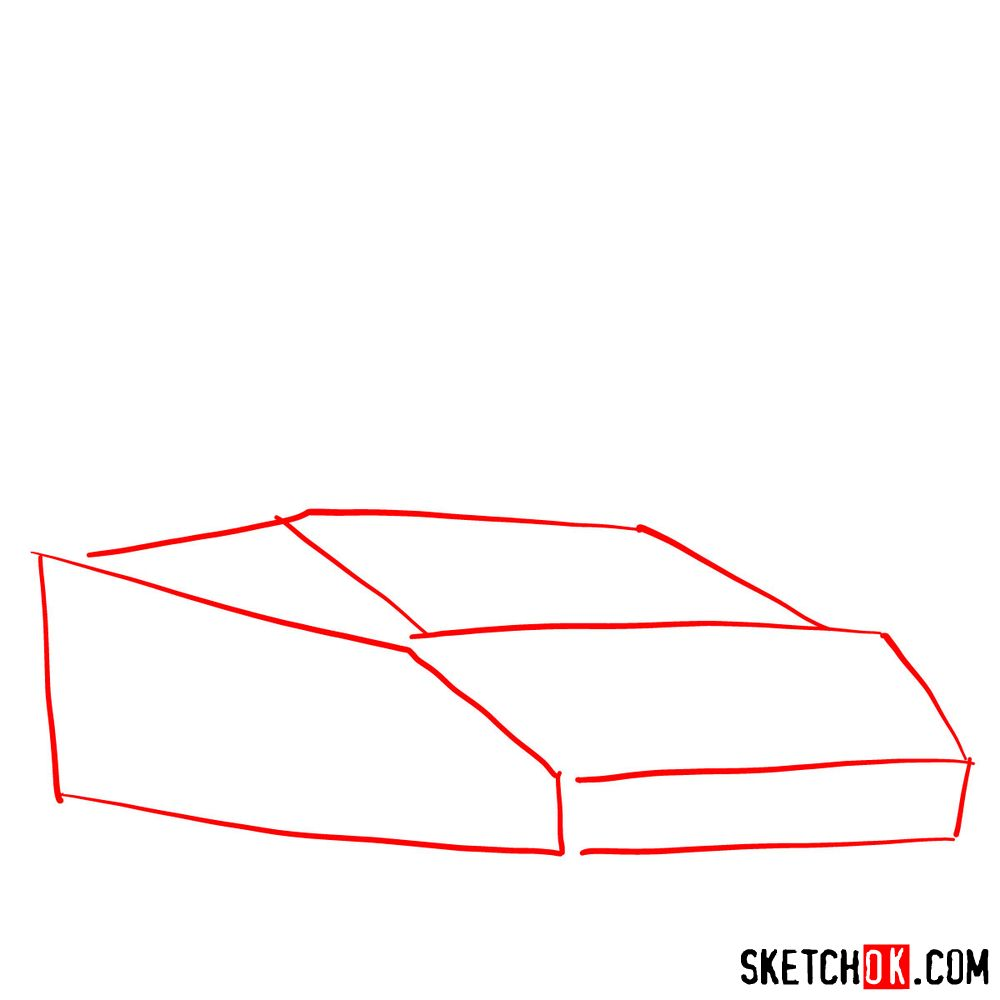 How to draw Lamborghini Diablo with open doors - step 01