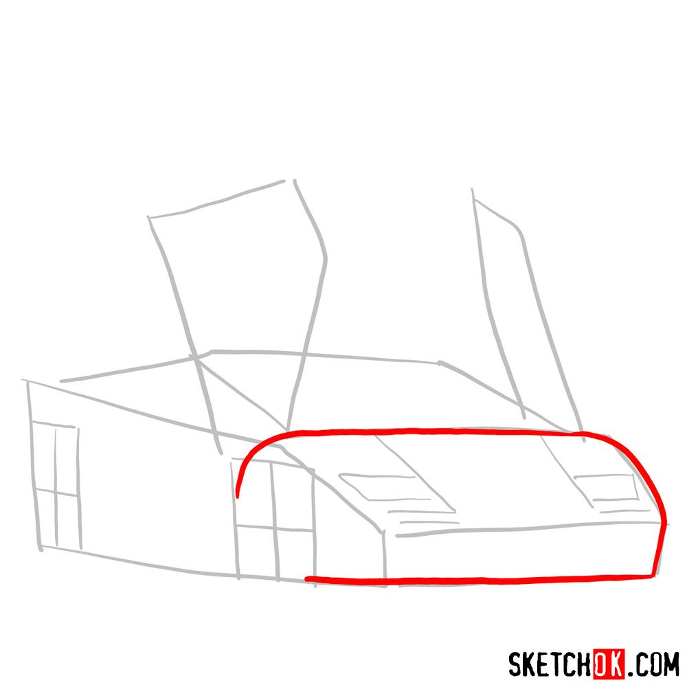 How to draw Lamborghini Diablo with open doors - step 03