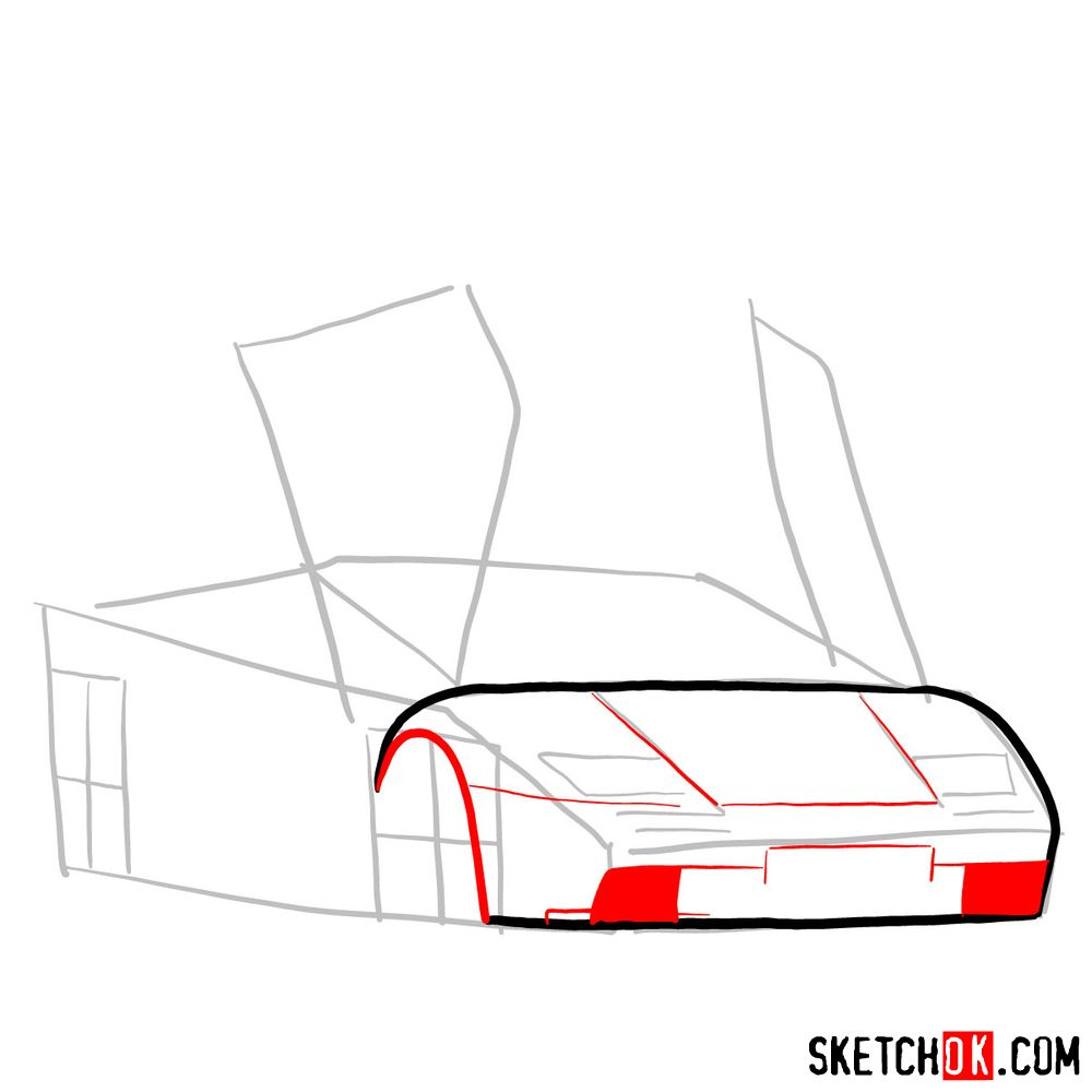 How to draw Lamborghini Diablo with open doors - step 04
