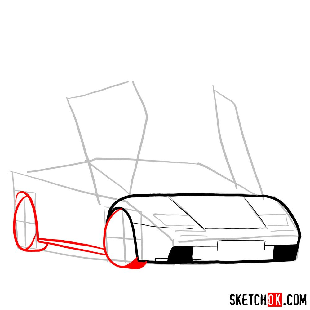 How to draw Lamborghini Diablo with open doors - step 05