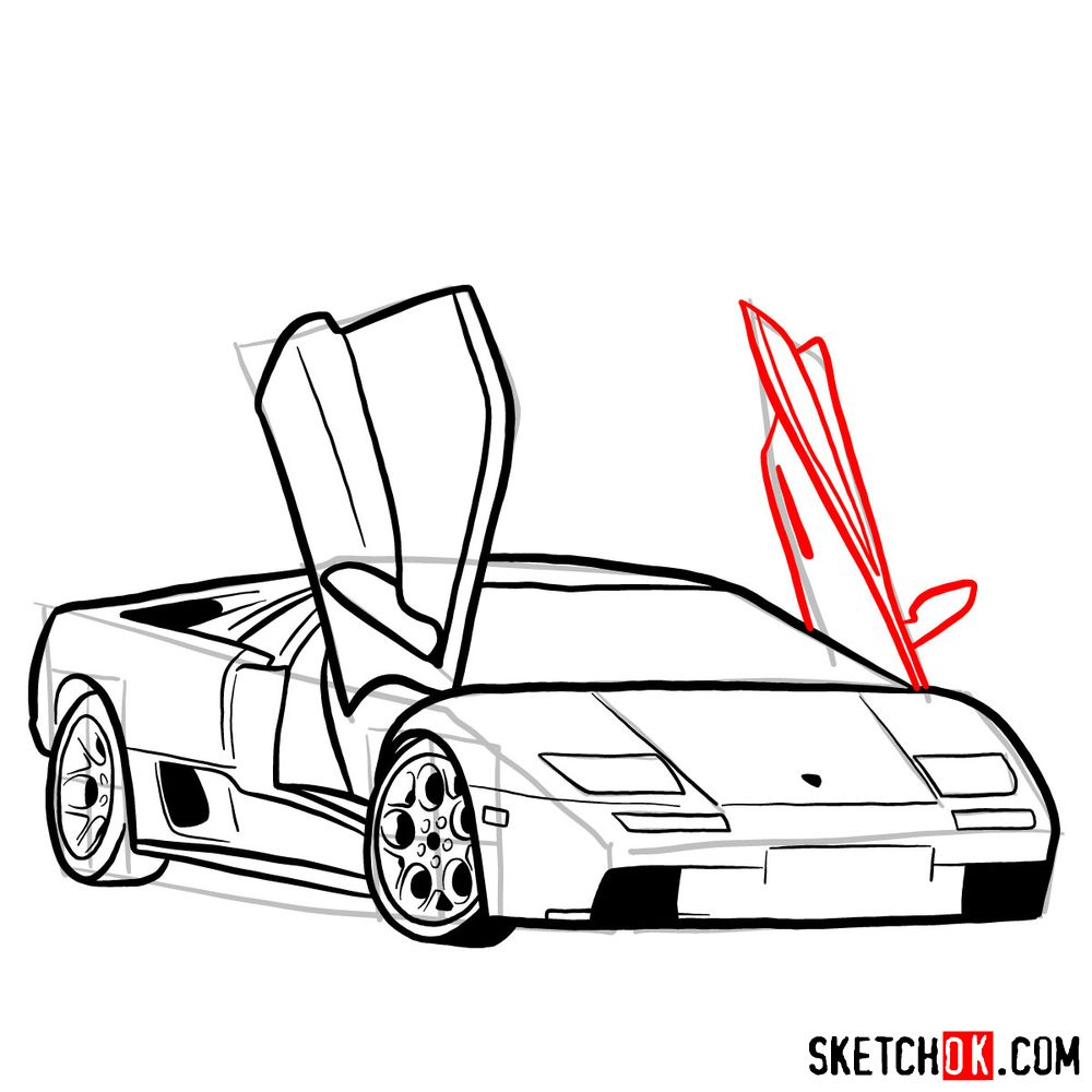 How to draw Lamborghini Diablo with open doors - step 12