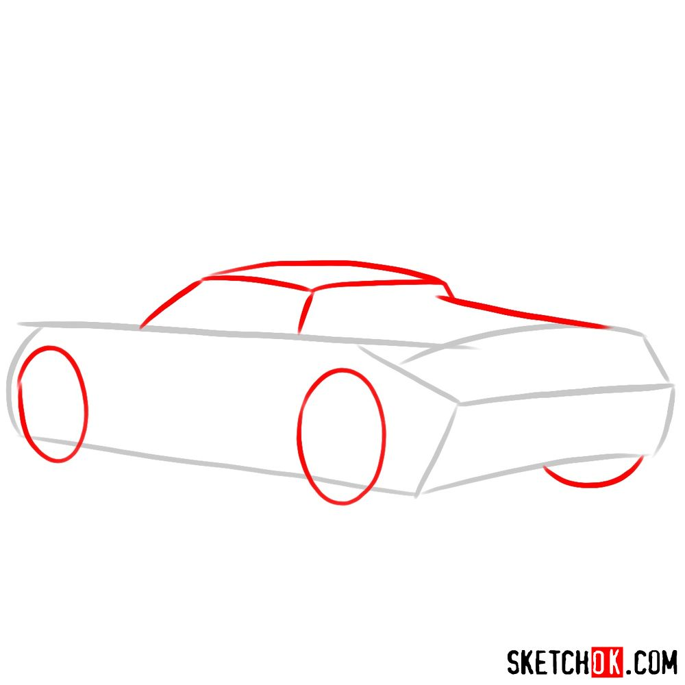 How to draw Porsche Carrera GT rear view - step 02
