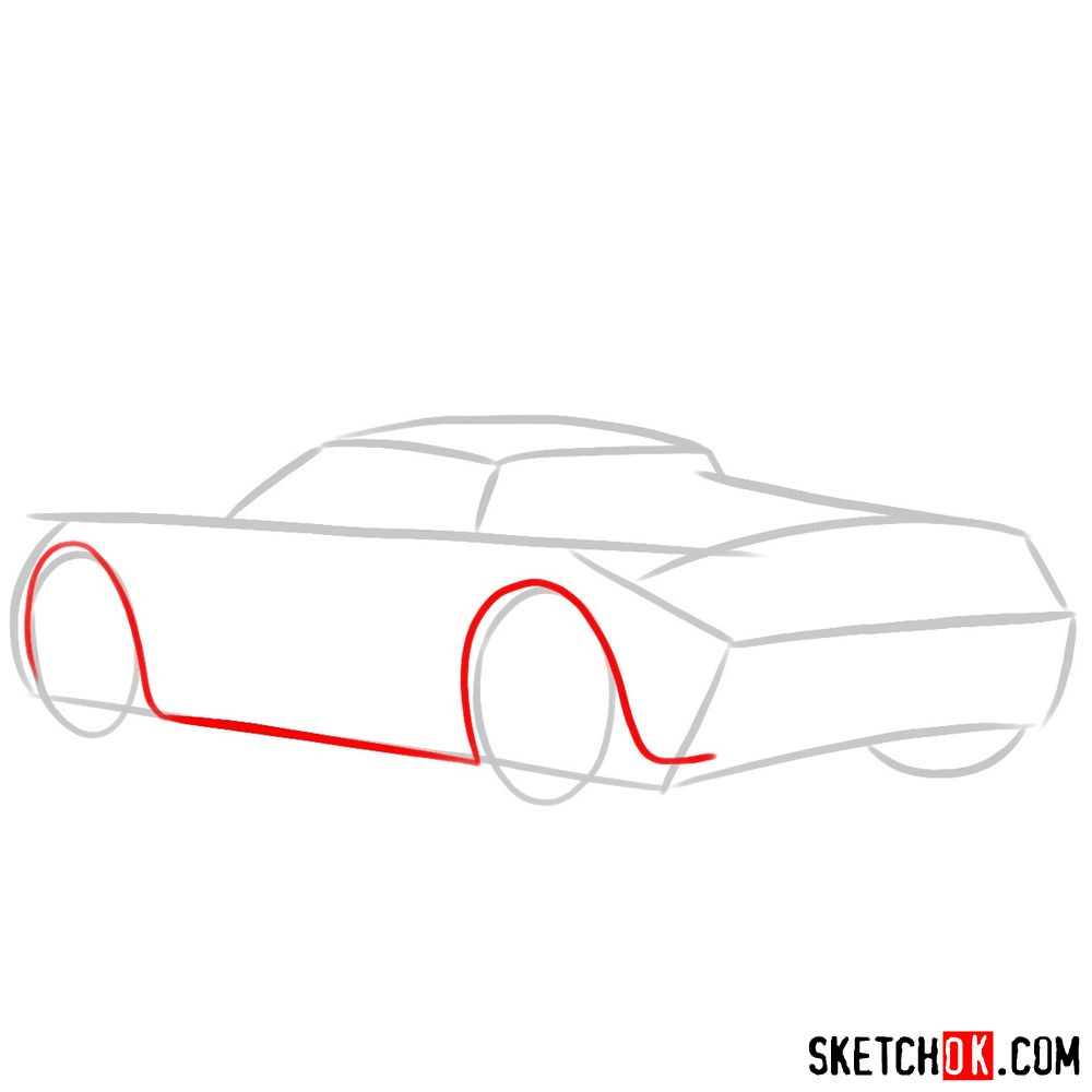 How to draw Porsche Carrera GT rear view - step 03