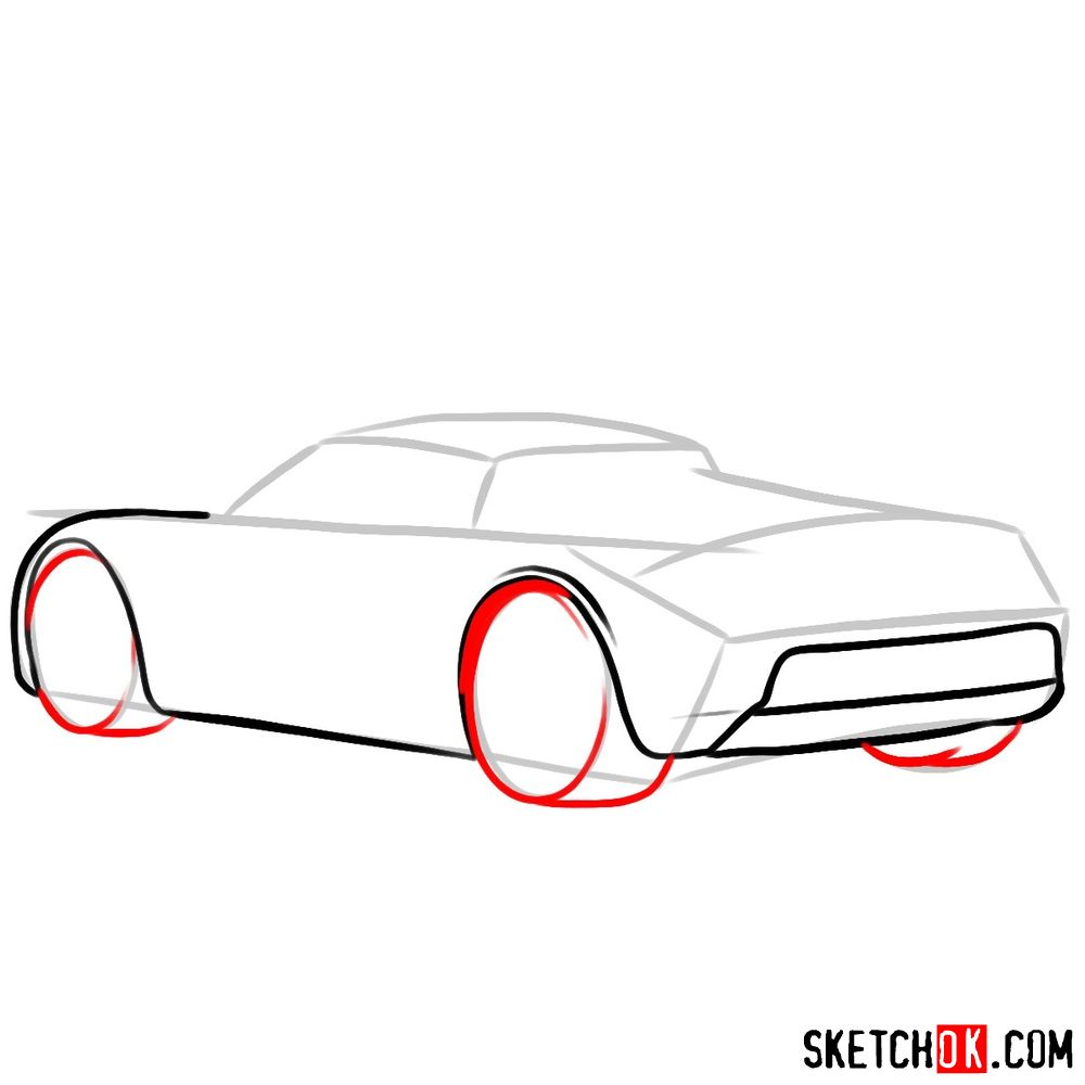 How to draw Porsche Carrera GT rear view - step 05
