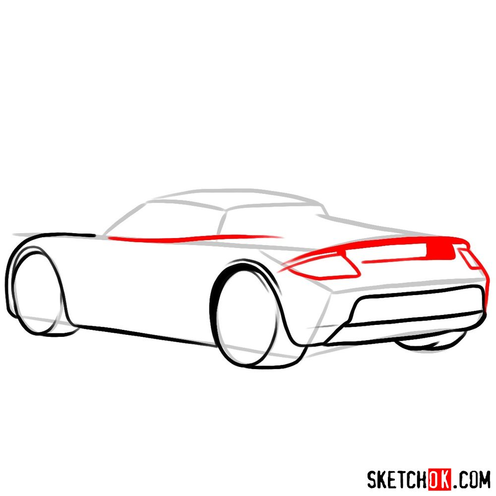 How to draw Porsche Carrera GT rear view - step 06