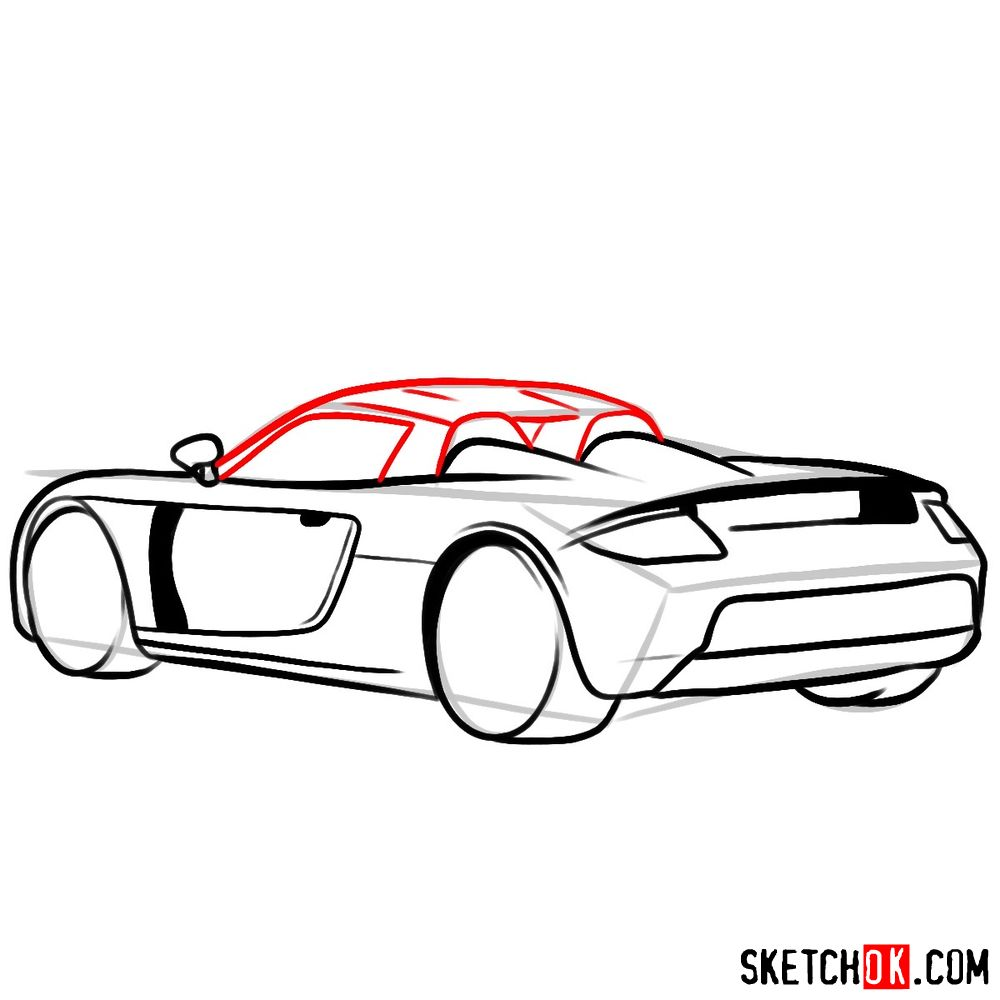 How to draw Porsche Carrera GT rear view - step 08